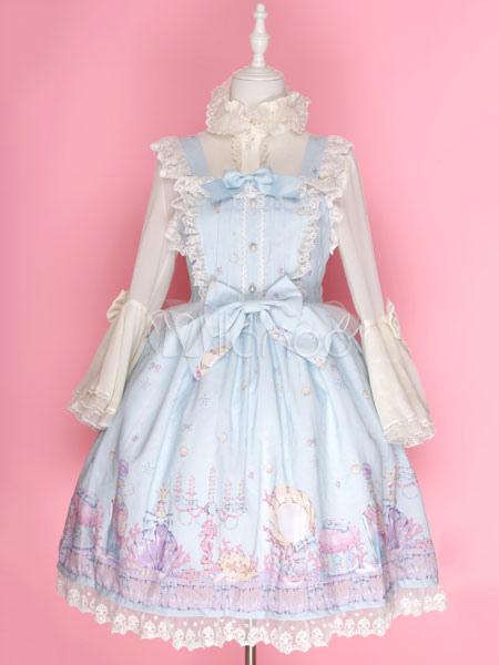 Buy Sweet Lolita Dress Fancy Cosmetics JSK Chiffon Lace Trim Bowknot Lolita Jumper Skirt for $131.99 in Milanoo store
