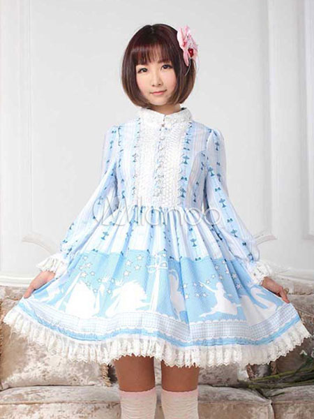 Buy Sweet Lolita Dress Swan Lake OP Lace Trim Stand Collar Ruffles Light Blue One Piece Lolita Dress for $109.59 in Milanoo store