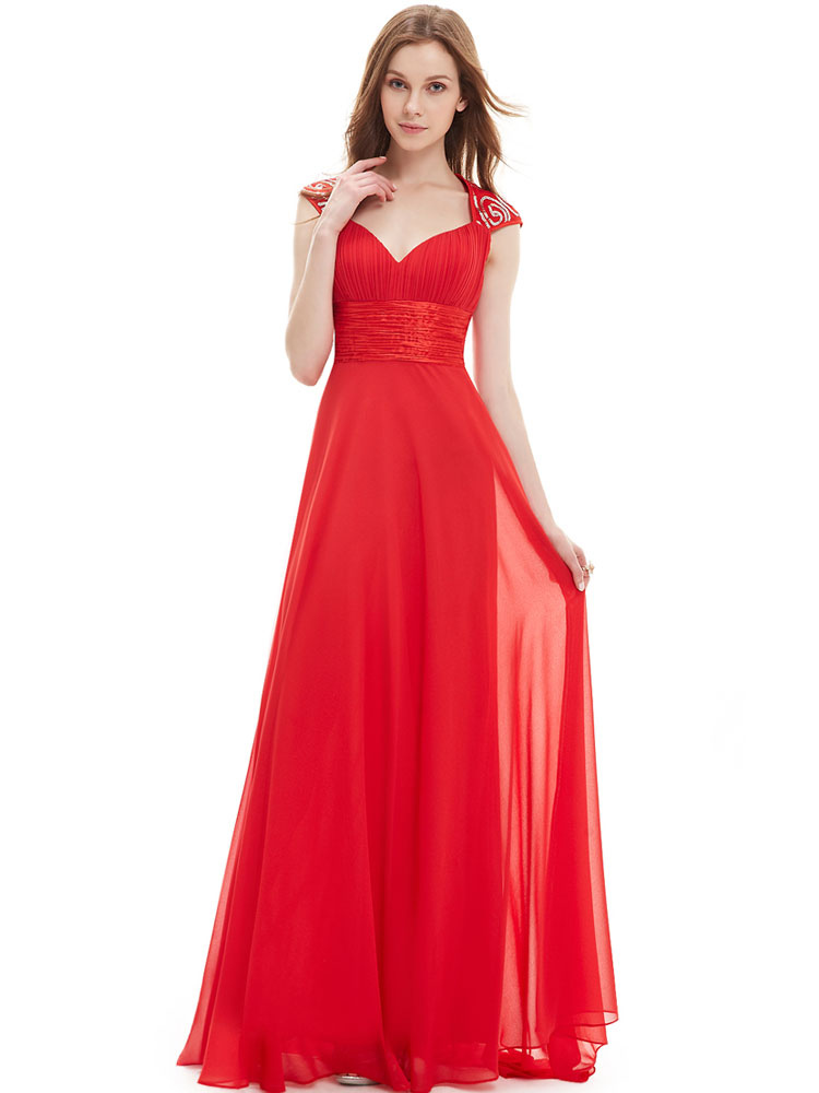 Red Bridesmaid Dress Chiffon Long Prom Dresses 2018 Queen Anne Neckline Sequin Ruched Sleeveless Occasion Dress With Train