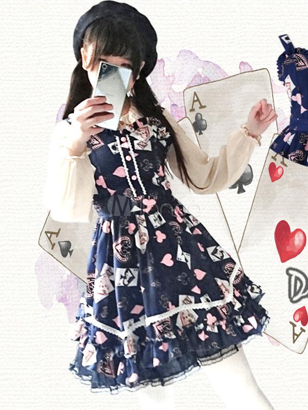 Buy Sweet Lolita Dress Poker JSK Sweetheart Lace Pleated Ruffles Deep Blue Lolita Jumper Skirt for $99.99 in Milanoo store