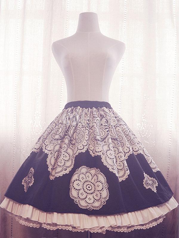 Buy Sweet Lolita Dress Black White Teresa SK Lace Trim Pleated Lolita Skirt for $98.79 in Milanoo store