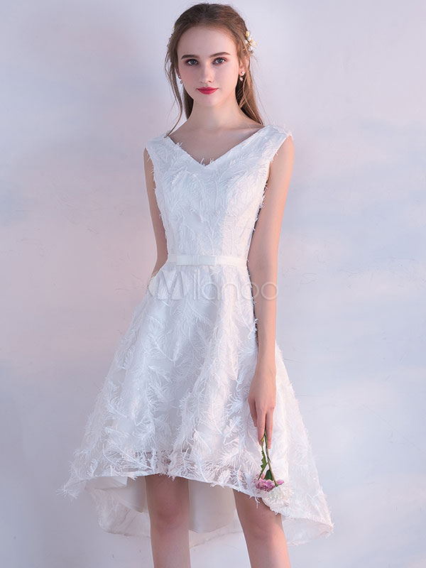 6d2ea0ab700 White Prom Dresses 2019 Short Lace Homecoming Dress V Neck High Low  Sleeveless Feathers Asymmetrical Cocktail ...
