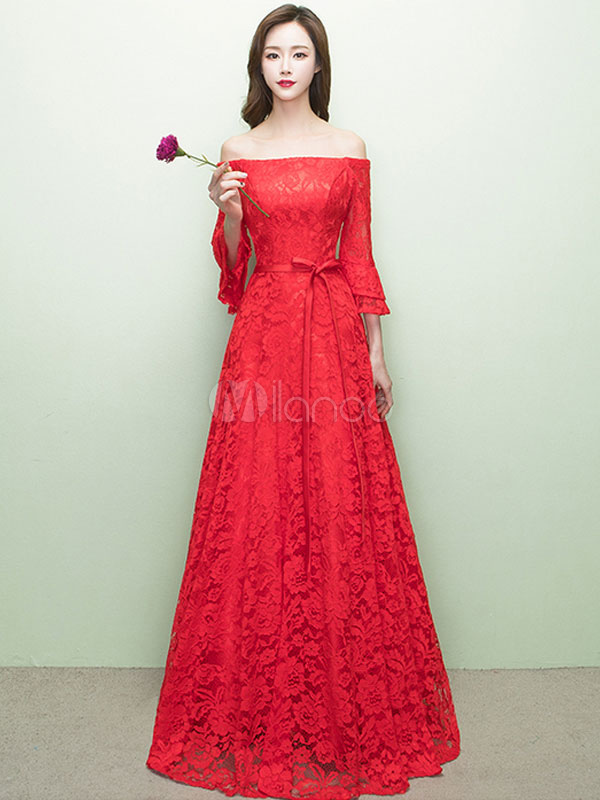 Buy Red Prom Dresses 2018 Long Off The Shoulder Prom Dress Lace Ribbon Sash Floor Length Party Dress for $131.99 in Milanoo store