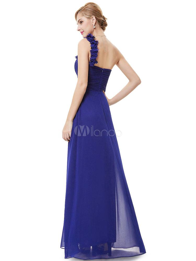 Long Bridesmaid Dress Sweatheart Chiffon Prom Dresses 2018 One ...