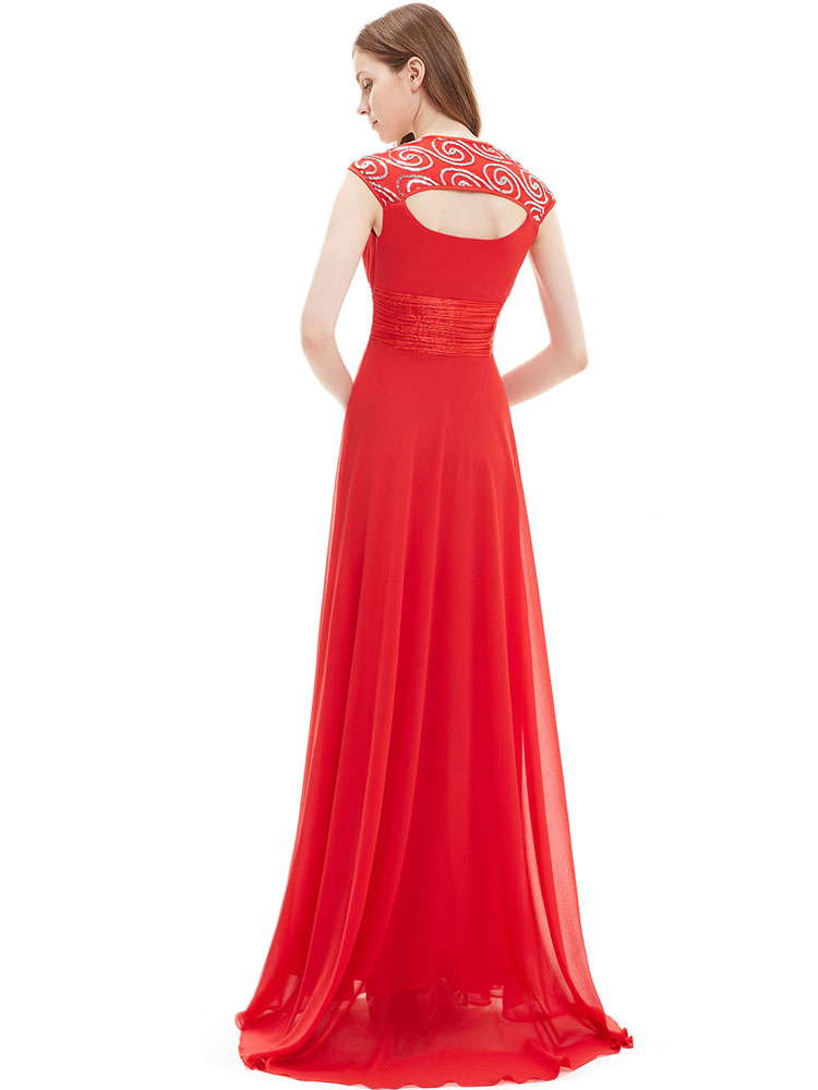 7ab94e6bd5e389 ... Red Bridesmaid Dress Chiffon Long Prom Dresses 2019 Queen Anne Neckline  Sequin Ruched Sleeveless Occasion Dress ...