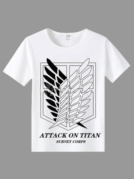 Buy Attack On Titan Shingeki No Kyojin Survey Corps White Short Sleeve T-shirt Halloween for $7.99 in Milanoo store