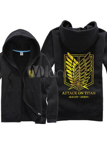 Buy Attack On Titan Shingeki No Kyojin Survey Corps Black Long Sleeve Cotton Hoodie Halloween for $31.99 in Milanoo store