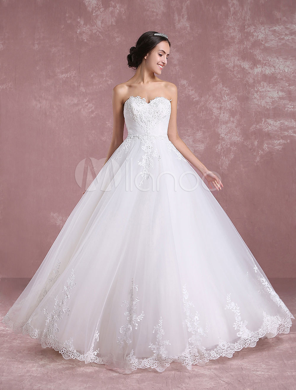 Buy Ivory Wedding Dress Sweetheart Backless Tulle Bridal Dress Strapless Lace Applique Beading A Line Floor Length Bridal Gown for $273.59 in Milanoo store