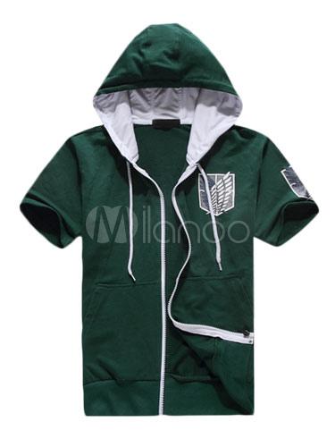 Buy Attack On Titan Shingeki No Kyojin Survey Corps Green Short Sleeve Hoodie Halloween for $37.99 in Milanoo store