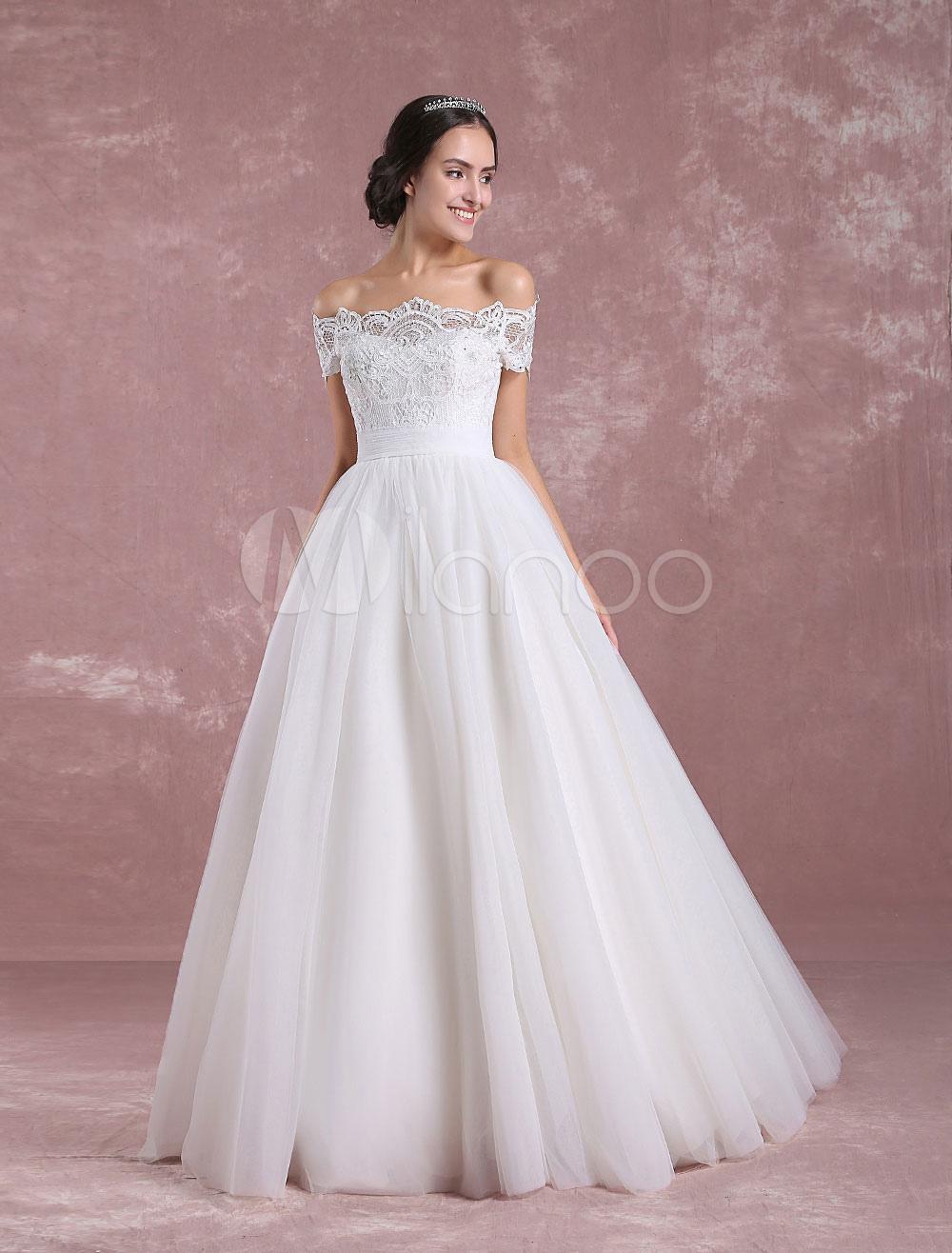 Princess Wedding Dress Off The Shoulder Tulle Bridal Dress Ivory Lace Floor Length Bridal Gown