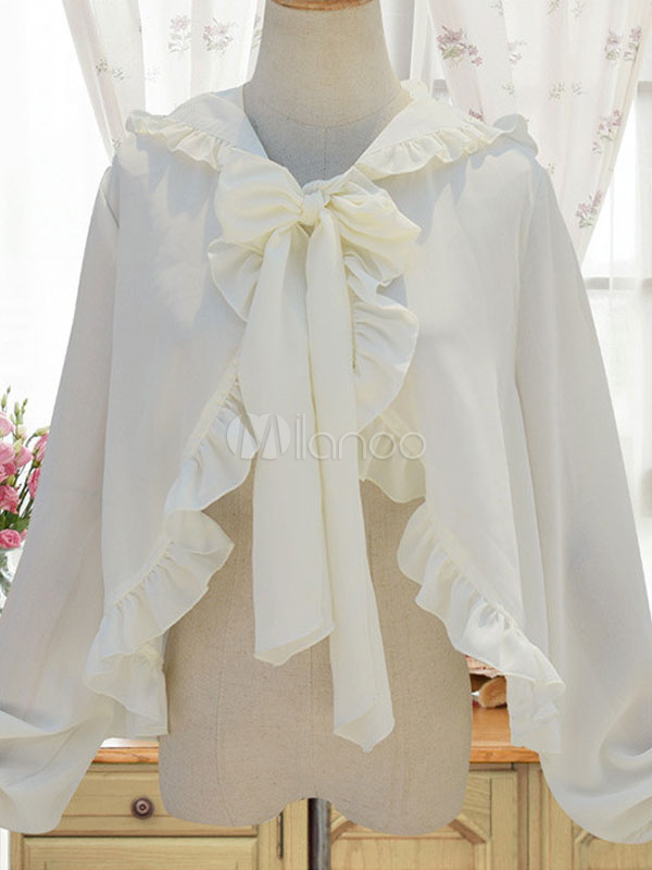 Buy Sweet Lolita Cape Neverland White Chiffon Hooded Bow Tie Lolita Shawl for $27.89 in Milanoo store