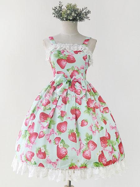 Buy Sweet Lolita Dress JSK Infanta Strawberry Print Lolita Jumper Skirt for $53.99 in Milanoo store