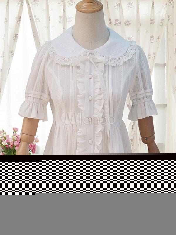 Sweet Lolita Shirt Neverland White Cotton High Waisted Short Sleeve Lolita Top
