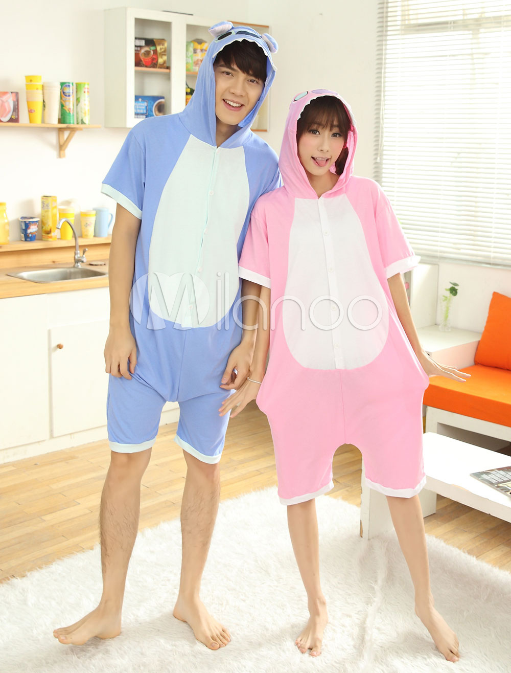 Kigurumi Pajama Stitch Onesie Cotton Short Sleeve Anime Sleepwear For Adult Halloween