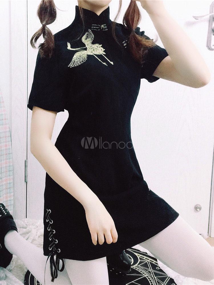 Qi Lolita Dress Chinese Style Crane Embroidered OP Black Lace Up Lolita One Piece Dress