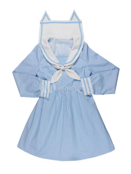 Buy Sweet Lolita Dress Sailor Style OP Light Blue Cat Ear Collar Lolita One Piece Dress for $37.99 in Milanoo store