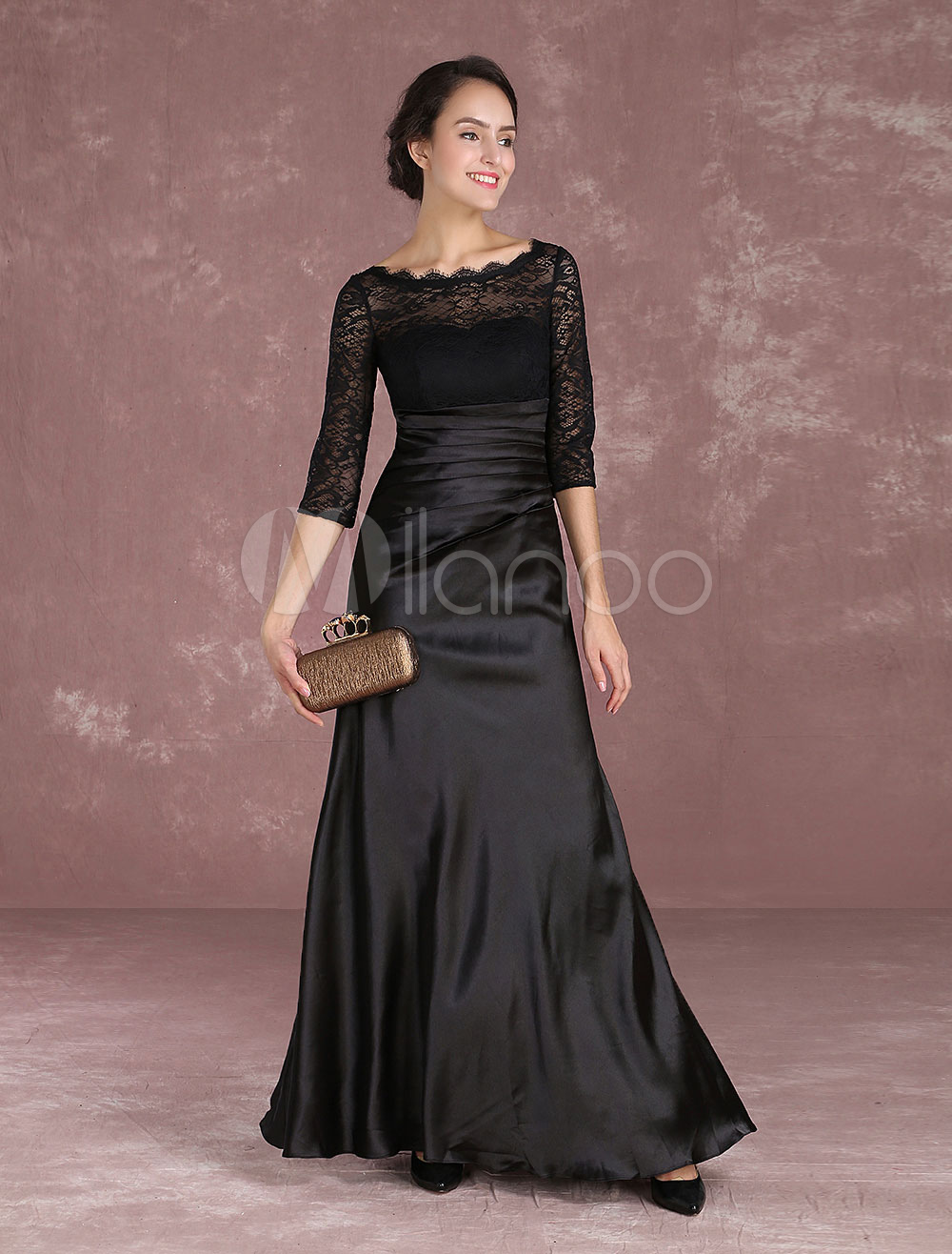 Buy Black Mother Of The Bride Dresses Lace Illusion Half Sleeve Evening Dresses Satin Floor Length Formal Dress for $174.24 in Milanoo store