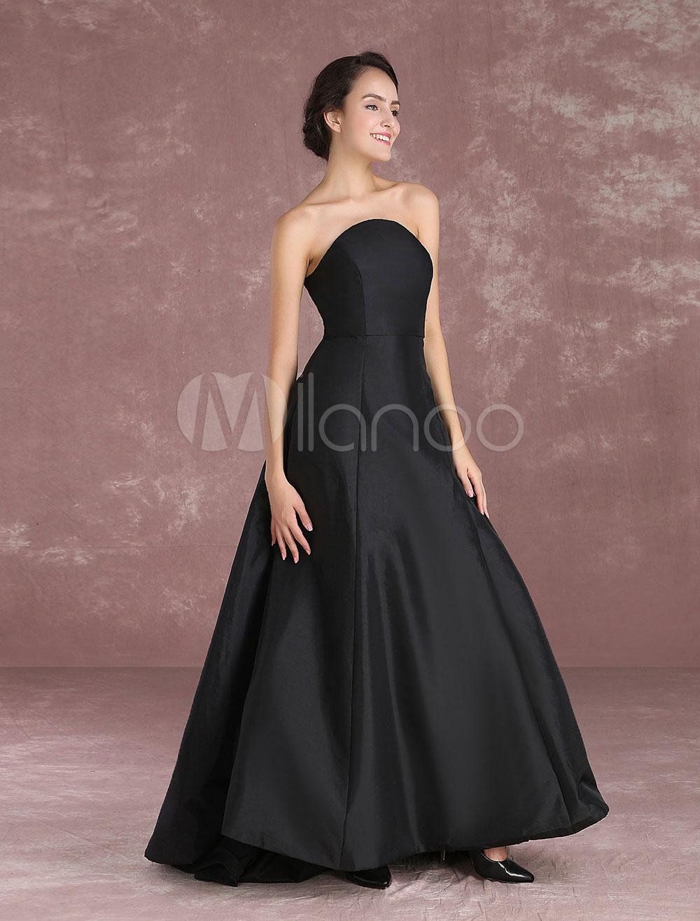 Black Celebrity Dress Taffeta Strapless Sleeveless Prom Dress Oscar Red Carpet Dress With Train Milanoo