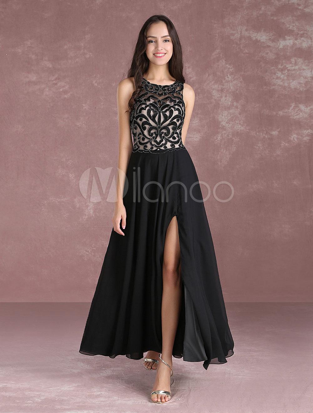 Buy Chiffon Prom Dress Long 2018 Black Illusion Beading Evening Dress Jewel Sleeveless Slit Floor Length Party Dress for $152.99 in Milanoo store