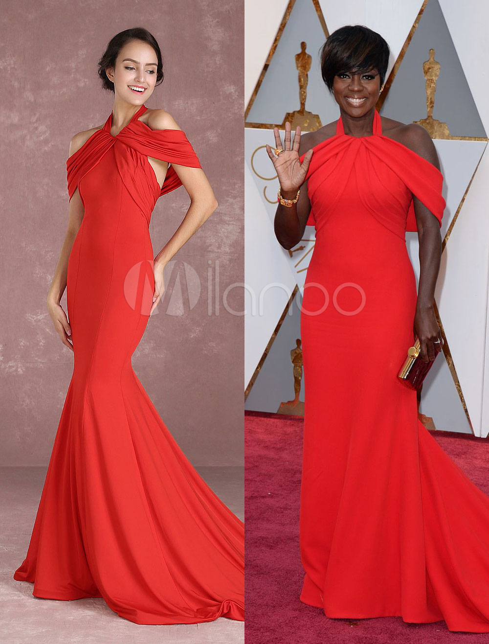 Red Celebrity Dress Halter Sleeveless Short Sleeve Cold Shoulder Party Dresses With Train Inspired By Viola Davis At Oscar Milanoo