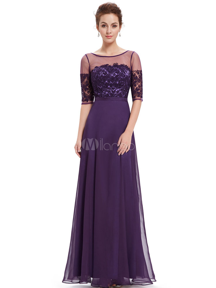 Buy Chiffon Mother Dress Lavender Evening Dress Lace Illusion Neckline Half Sleeve A Line Floor Length Wedding Guest Dresses for $118.79 in Milanoo store