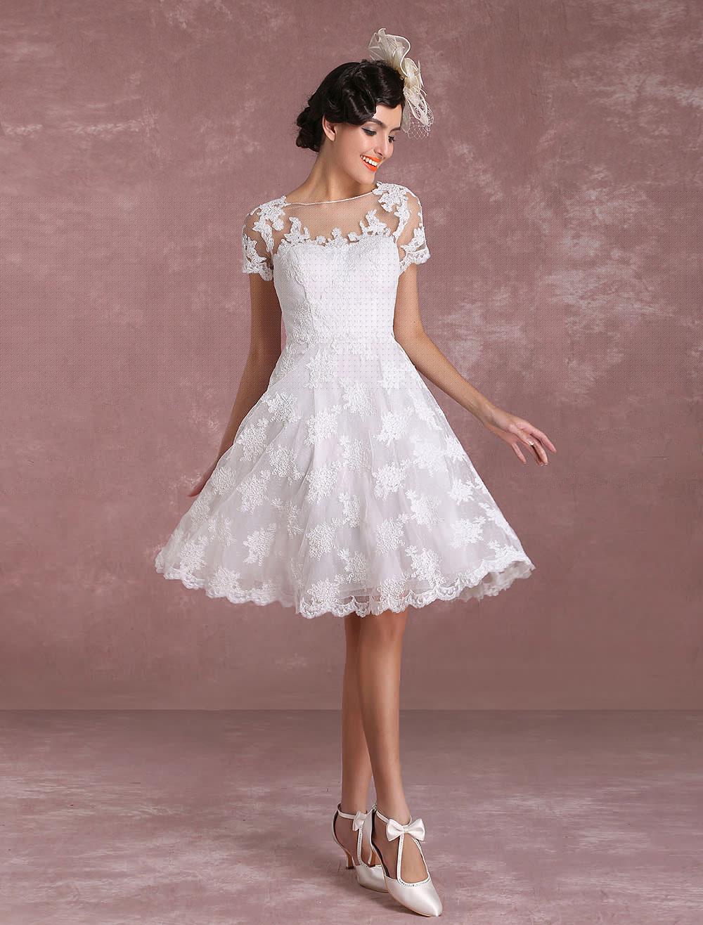 vintage wedding dresses 2018 short lace applique bridal gown short sleeve illusion bridal dress. Black Bedroom Furniture Sets. Home Design Ideas
