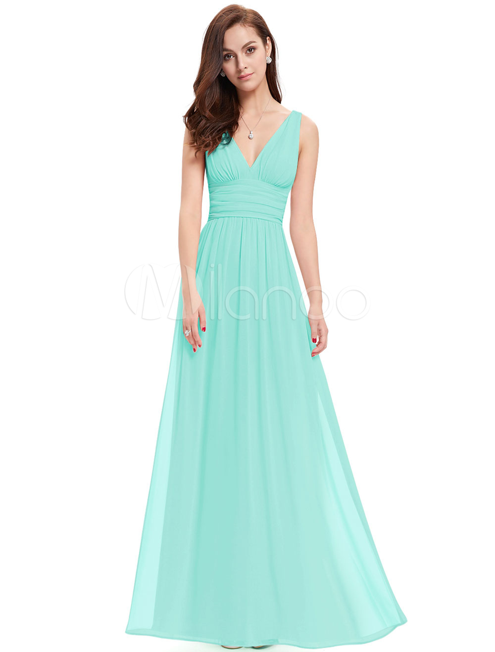 Buy Chiffon Mother Dress Mint Green Long Prom Dress V Neck A Line Floor Length Party Dress for $85.49 in Milanoo store