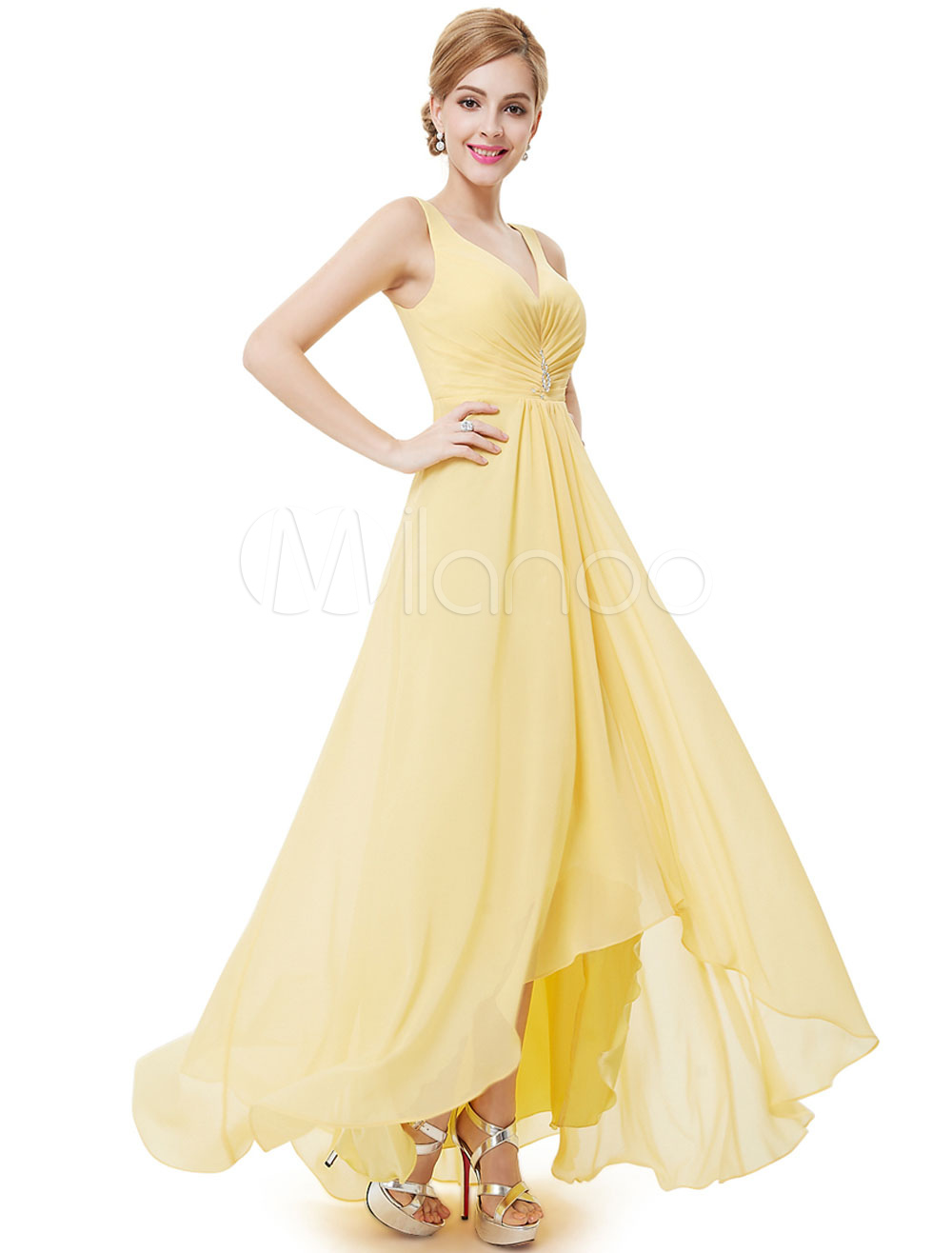 Buy Chiffon Bridesmaid Dress Daffodil Long Prom Dress V Neck Pleated High Low A Line Party Dress for $101.19 in Milanoo store