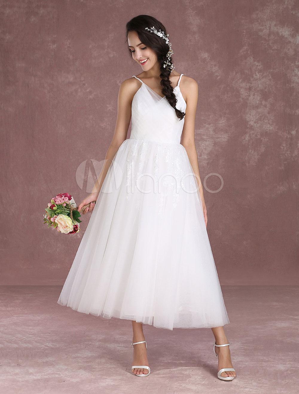 Buy Summer Wedding Dresses 2018 Short Beach Tulle Bridal Dress V Neck Spaghetti Straps Ankle Length Bridal Gown Milanoo for $161.09 in Milanoo store