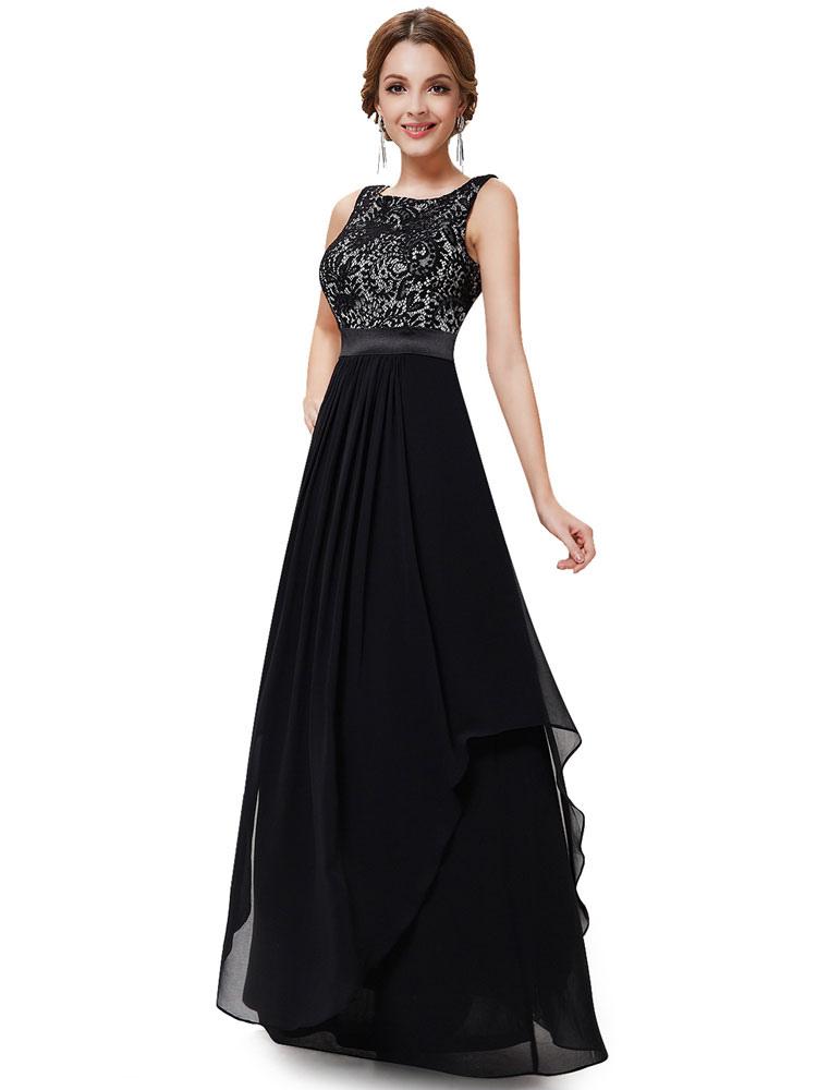 Black Prom Dress Chiffon Evening Dress Lace Crewneck Sash A Line Floor Length Wedding Guest Dresses