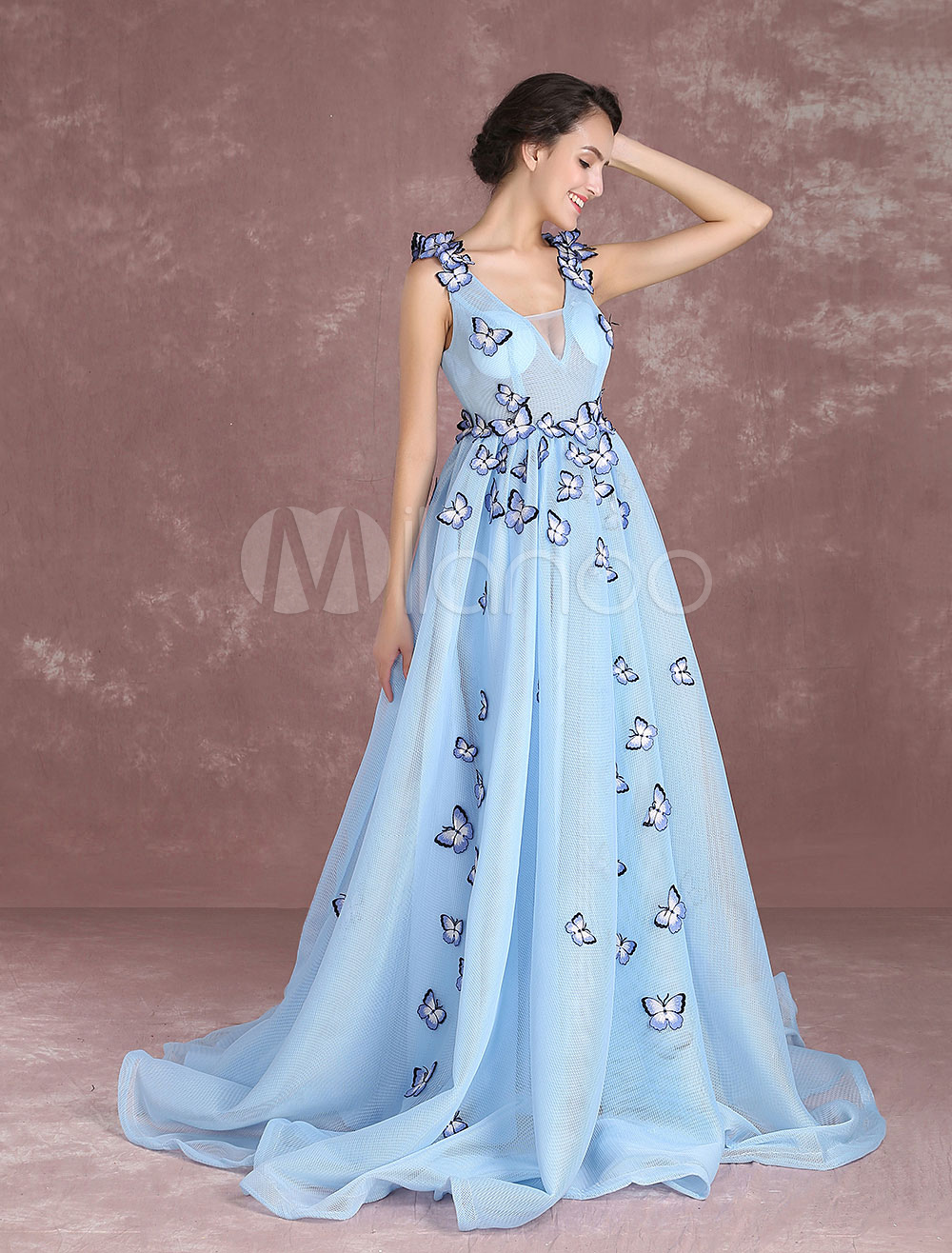 f2917e316a Baby Blue Quinceanera Dresses Princess Illusion Butterfly Beading Pageant  Dresses V Neck Sleeveless Pleated Prom Dresses ...