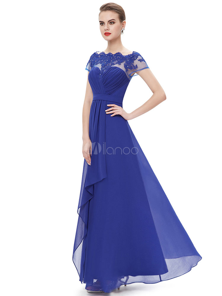 Royal Blue Mother Dress Off The Shoulder Evening Dress Chiffon Lace Applique Beading Pleated Short Sleeve A Line Floor Length Wedding Guest Dresses