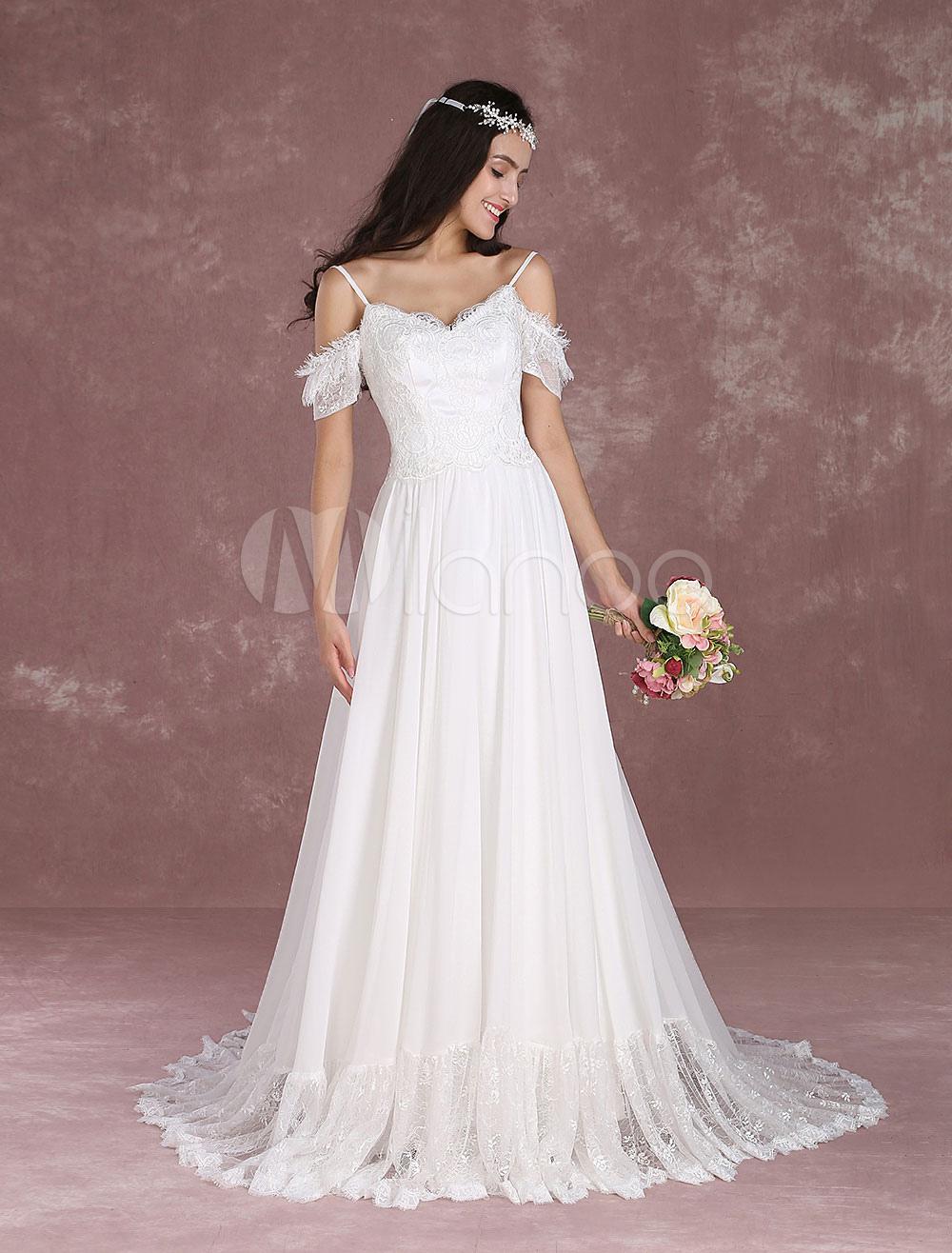 Summer Wedding Dresses 2018 Chiffon Off The Shoulder Beach Bridal Dress Boho Backless Spaghetti Straps Train Bridal Gown Milanoo