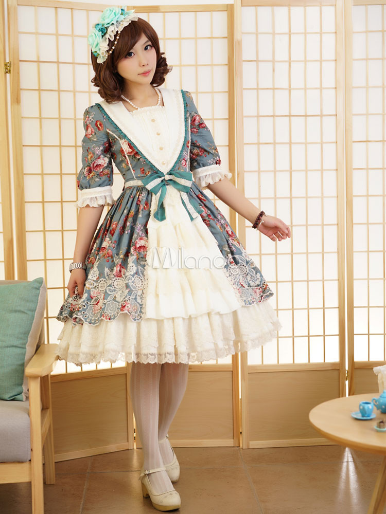 Buy Rococo Lolita Dress OP Illusion Blue Square Neck Half Sleeve Floral Printed Lolita One Piece Dress for $195.99 in Milanoo store