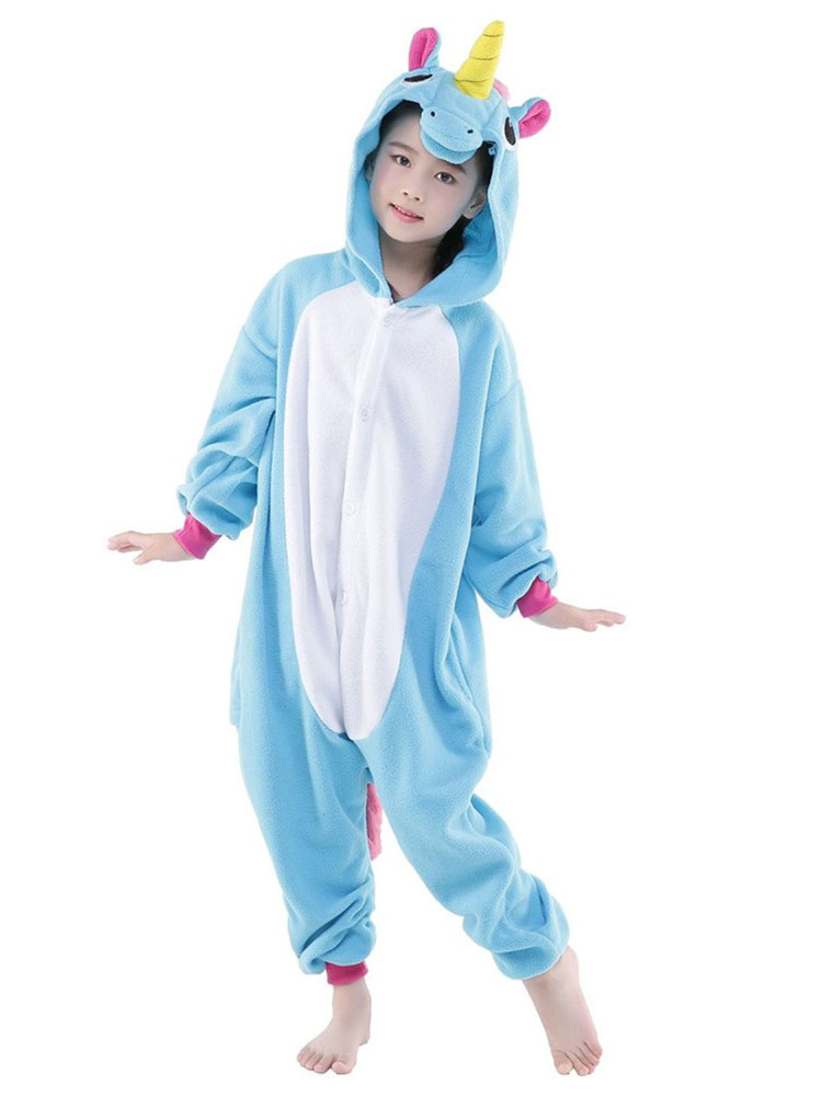 f77fd63bf9d2 ... Kigurumi Pajama Unicorn Onesie Light Sky Blue Flannel Animal Sleepwear  For Kids With Zipper Back Halloween ...
