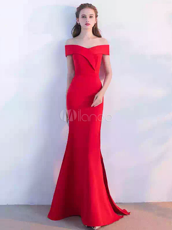 Red Evening Dress Off The Shoulder Mermaid Long Prom Dresses 2018 Sexy High Split Floor Length Formal Dress