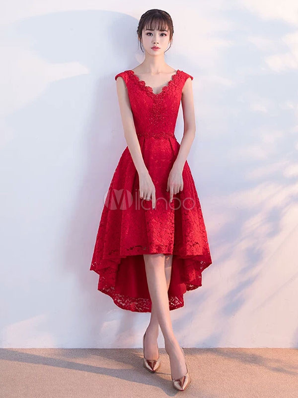 Red Homecoming Dresses Lace V Neck Cocktail Dress Sleeveless High Low Short  Prom Dresses 2019- ... e01615fcd
