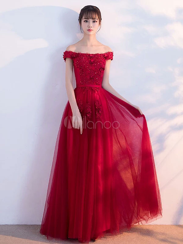 Burgundy Prom Dresses 2018 Long Off The Shoulder lace Flowers Beaded Tulle Floor Length Party Dress