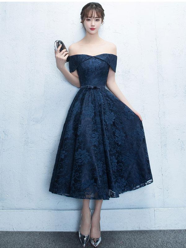 Vestidos de randa azul marino