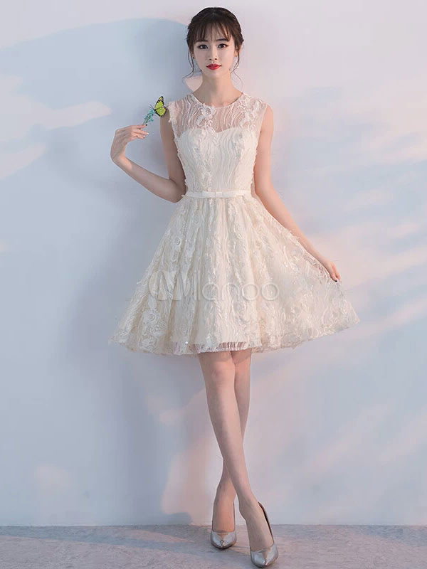 a06170635bcf Lace Homecoming Dresses Illusion Sweetheart Short Prom Dresses 2019 Ivory  Sleeveless Party Dress-No.