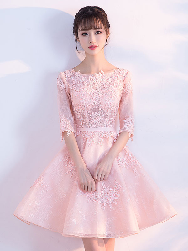 Soft Pink Homecoming Dress Lace Applique Short Prom Dresses 2020 Half Sleeve Party Dress