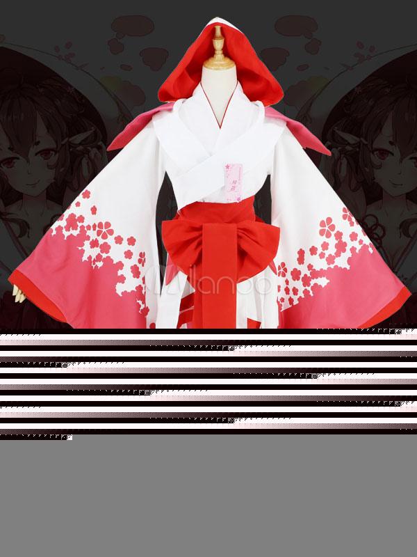 Japanese Anime Girls' Kimono Cosplay Costume White Red Kimono Halloween