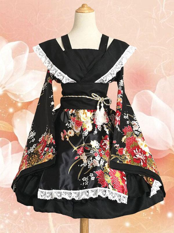 Japanese Anime Girls' Kawaii Kimono Cosplay Costume Dance Wear Halloween
