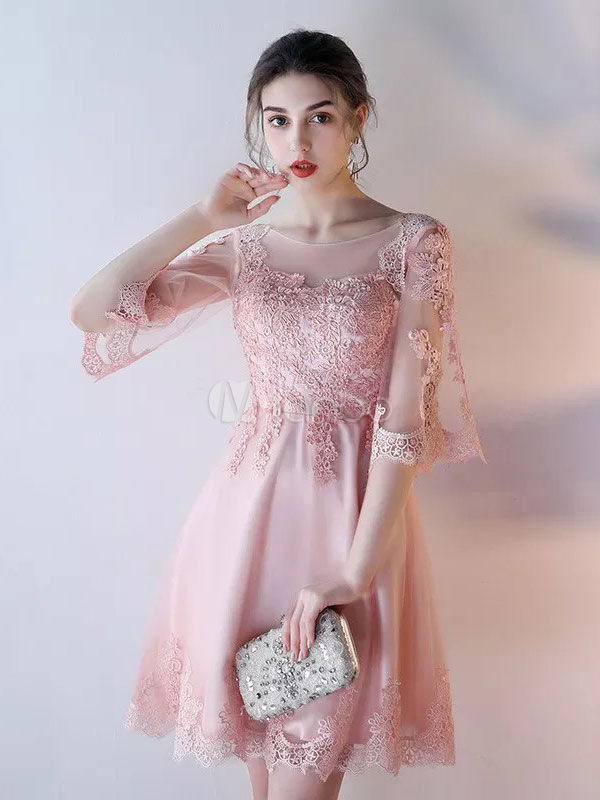 Buy Blush Homecoming Dress Tulle Soft Pink Short Prom Dress Lace Applique Backless A Line Mini Cocktail Dress for $101.19 in Milanoo store
