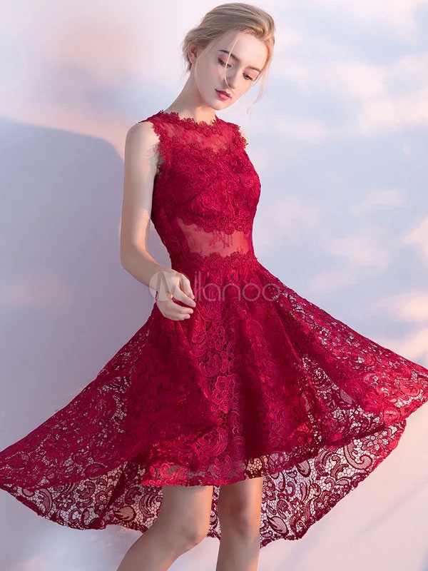 Lace Prom Dresses 2018 Burgundy High Low Homecoming Dress Illusion Back A Line Cocktail Dress
