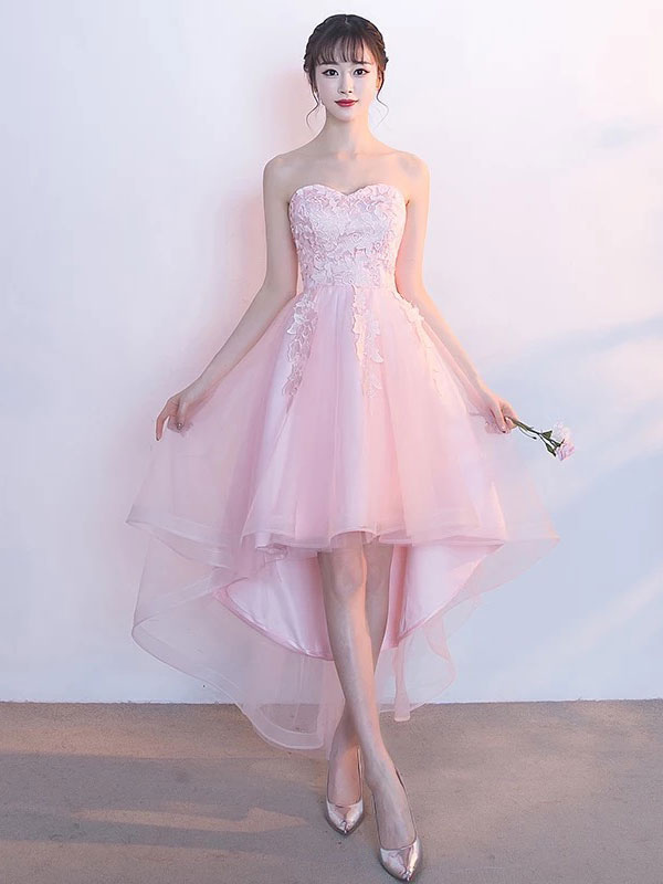 Blush Homecoming Dress Soft Pink High Low Prom Dress Tulle Strapless Sweetheart Lace Applique A Line Graduation Dress With Detachable Shawl