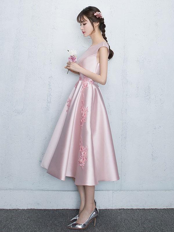 Blush Homecoming Dresses 2018 Satin Soft Pink Prom Dress