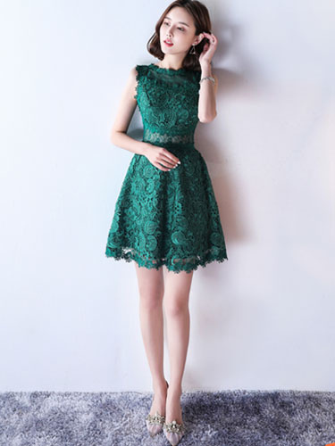 648e9934933 ... Lace Mother Dress Dark Green Cocktail Dress Illusion Waist A Line Short  Wedding Guest Dresses- ...