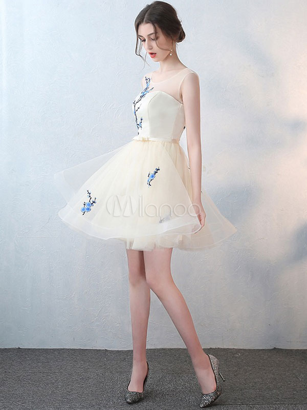 Buy Champagne Homecoming Dress Tulle Short Prom Dress Backless Flower Applique Bow Sash A Line Mini Cocktail Dress for $96.79 in Milanoo store