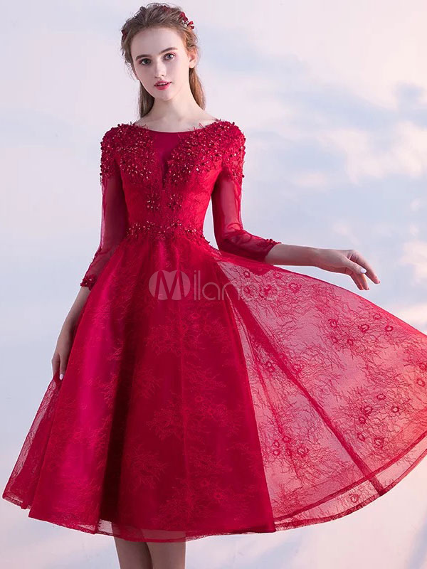 Buy Short Prom Dresses 2018 Lace Backless Cocktail Dress Beading Three Quarter Sleeve A Line Tea Length Homecoming Dress for $104.99 in Milanoo store